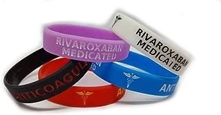 5X RIVAROXABAN Medicated Wristband Medical Awareness Alert Bracelet Glow in The Dark, Red, Black, Purple, Blue, Anticoagulant (Adult 202mm/8inch Circumference)