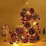 Ibello Guirnalda de Navidad con piñas decorativas 2m 20 LED Guirnaldas navideñas ideal para Casa, Navidad, Decoración, chimenea (blanco cálido)