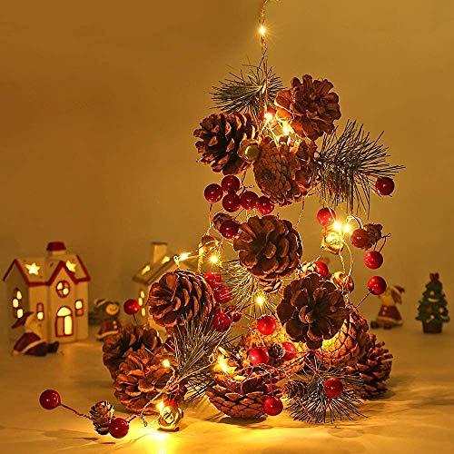 Ibello Catena Luminosa Natale Stringa di Luce Pigne Campanello 20 LED Filo in Rame DIY Decorazione per Albero di Natale Camera