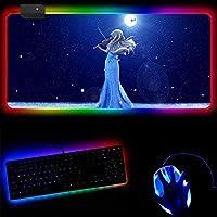 ゲーミングマウスパッド四月は君の嘘アニメLEDゲーミングマウスパッドRGBゲーマー大型マウスパッドLED照明USBキーボードPCラップトップ用のカラフルなデスクパッド-(A)_30x70x0.4cm