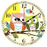 VieVogue Reloj de Pared, Reloj de Pared de Cuarzo Estilo Toscano Vintage silencioso Retro Reloj de Madera Sin Tictac (Búhos, 30cm)