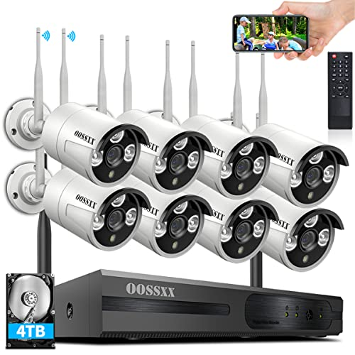 {Dual Antennas for WiFi Enhanced & 60 Days Storage} AI Human Detected 2K 3.0MP Wireless Security Camera System,OOSSXX 8 Channel NVR HD Outdoor Home Surveillance WiFi Cameras Systems with 4TB HDD