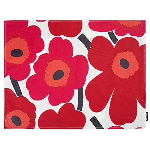 Marimekko - Tischset, Platzset - Pieni Unikko - Weiß-Rot - Baumwolle - 31 x 42 cm