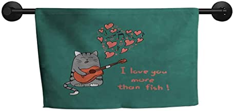 ZSUO Big Towel W 28 x L 14(inch) Highly Water Absorbent Hotel Bathroom Towel,I Love You More,Cat with Guitar More Than Fish Song Music Notes and Valentines Hearts,Multicolor