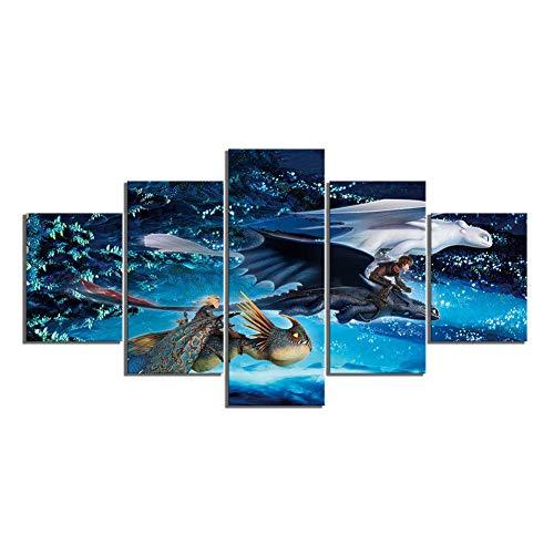 5 Stuks HD Canvas Prints Cartoon Draak Tandeloze Beeld Hoe Train Je Draak 3 Film Poster Muursticker Canvas Schilderijen voor Wanddecoratie