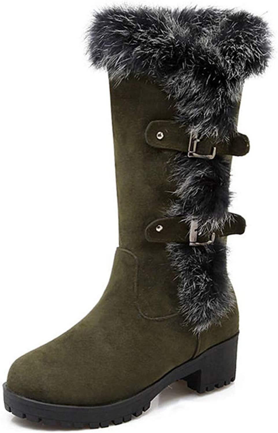 T-JULY Women's Fashion Mid Calf Boots Buckle Fashion Round Toe Comfortable Platform shoes Warm Winter Snow Booties