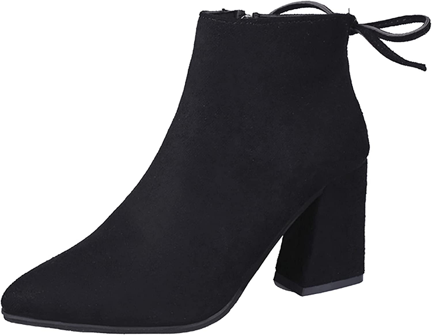Women's Fashion Ankle Bootie Block Heel Suede Solid Color Pointe