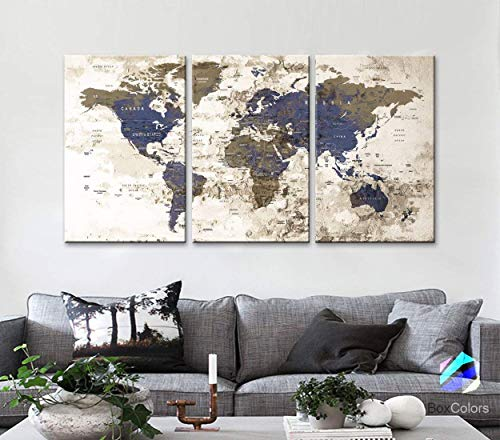 Original by BoxColors LARGE 30'x 60' 3 panels 30x20 Ea Art Canvas Print Watercolor Beige Old Map World Push Pin Travel Wall home decor (framed 1.5' depth) M1811