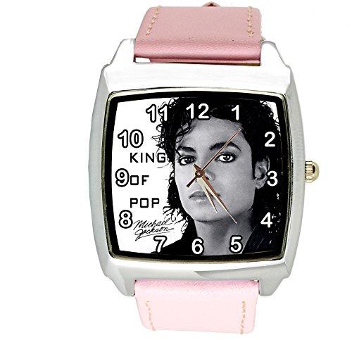 Reloj cuadrado de cuarzo para Michael Jackson, esfera de piel auténtica, color rosa, incluye batería de repuesto y bolsa de regalo