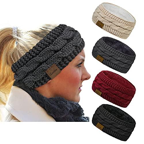 Loritta 4 Pack Womens Winter Headbands Fuzzy Fleece Lined Ear Warmer...