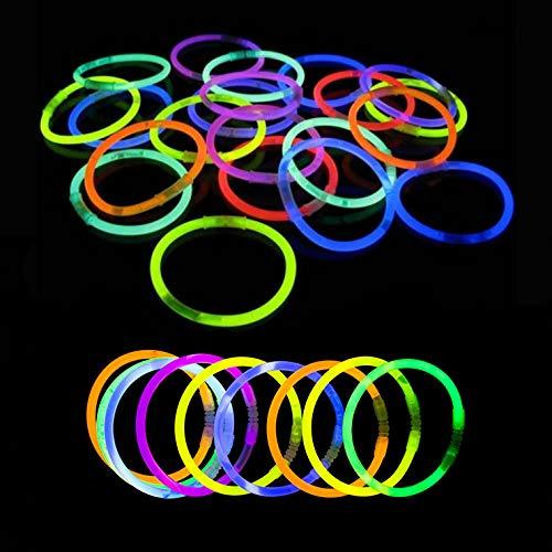 Pulseras Luminosas - 200 Unidades (Variado) - Pulseras Luminosas de la Máxima Calidad - Pulseras Fluorescentes - Varitas Luminosas
