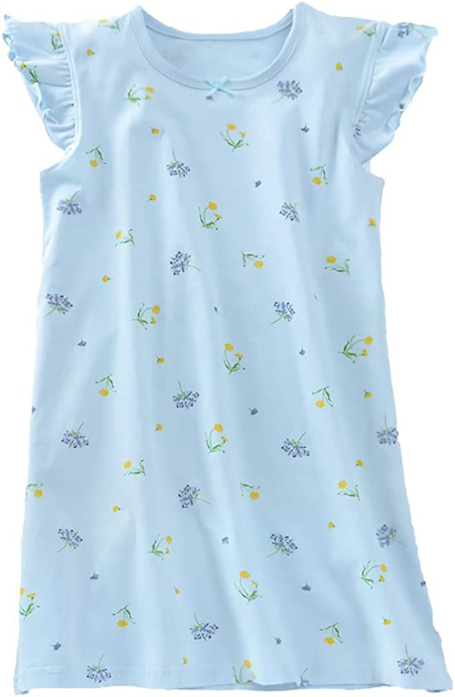 Allmeingeld Girls' Princess Nightgowns Floral Sleep Shirts Cotton Sleepwear for 3-14 Years