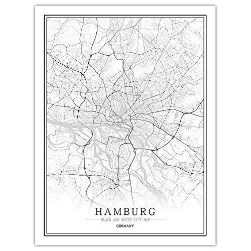 ZWXDMY Leinwand Bild,Deutschland Hamburg Stadtplan Schwarz Weiß Minimalismus Textzeile Abstrakten Drucken Leinwand Poster Malerei Wandbild Office Image Home Dekoration, 20 × 30 cm