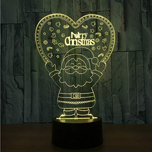 Veilleuse pour enfants 7 couleurs changeantes Santa Claus Veilleuses 3D Visual Baby Sleeping Lamp Led Desk Lights Lampes Creative Toys Christmas Gifts