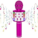 CYY Karaoke Wireless Microphone Toys for Kids,Bluetooth Portable Handheld Microphone Speaker with LED Lights,Gifts for Birthday Party,Outdoor Activity,Festivals of Boys,Girls,Adults (Purple)