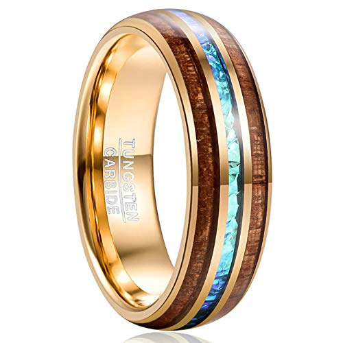 Vakki Herren Wolframkarbid Ehering Imitierter Opal und Hawaiianischer Koa Holz Inlay Ring 58 (18.5)