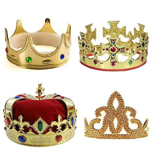 Tigerdoe Kings Crown - 4 Pack - Royal King Crowns and Princess Tiara - Costume Accessories Red