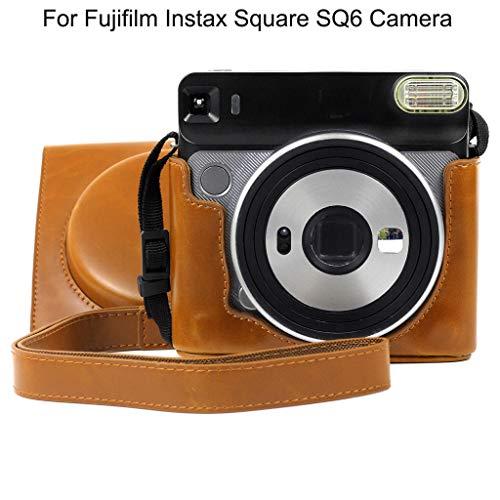 TianranRT♕ Estuche Para Cámara Compacta,Nuevo Bolso Vintage Cuadrado Puleather Fuji Para Cámara Fujifilm Instax Square Sq6 (15 * 15.5 * 7.5),Marrón