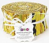 Soimoi 40 Unids De Impresión Artística Floral Telas De Precorte De Algodón Para Acolchar Las Tiras De Artesanía De 2.5 X 42 Pulgadas Rollo De Jalea - Amarillo-Zz