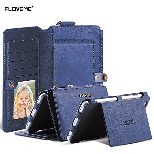 FLOVEME Retro 2 en 1 Cremallera Magnético de Cuero 18 Ranuras para Tarjetas Billetera 360 Grados Protección Completa Dar la Vuelta Bolsa Pata de Cabra Carcasas y fundas para iphone 6 Plus/ 6s Plus/ iphone 7 Plus,Azul