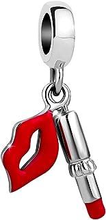 356930c25 Sexymandala Women's Sexy Red/Pink Lipstick &Kiss Love Charms Makeup Party  Dangling Beads for Pandora
