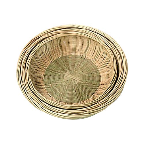 XGZ Natural Bamboo Baskets Hand Woven Basket Round Bamboo Serving Bowl Storage Organisation Baskets Tray For Fruit, Snack, Vegetable, Bread