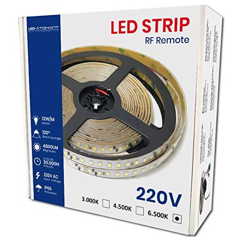 KIT Completo de 5 metros de Tira de Luz LED Directa a 220v con Controlador y Mando. Color Blanco Neutro (4500K). Impermeable. Corte cada 10cm. A++