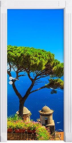 Stil.Zeit Möbel Albero sul Mare Blu Come Una Carta da Parati Porta, Formato: 200x90cm, Telaio della Porta, Adesivi Porta, Porta Decorazione, autoadesivi del Portello