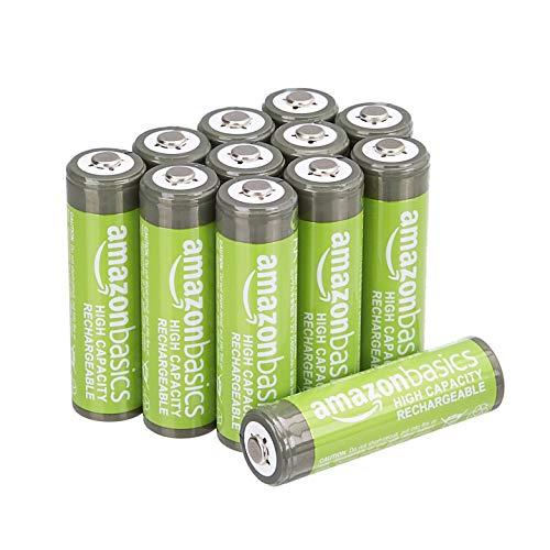 AmazonBasics – AA-Batterien mit hoher Kapazität, wiederaufladbar, 2400 mAh, 12 Stück, vorgeladen