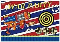 HDダート戦争パーティーの背景銃の射撃ターゲット子供のためのブラスター写真の背景子供お誕生日おめでとうパーティー銃ゲーム用品装飾バナー10x7ft写真スタジオブースの小道具