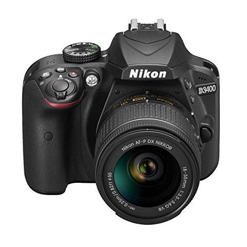 "Nikon D3400 + 18-55 AFP DX, Cámara réflex digital de 24,2 Mp (pantalla LCD 3"", objetivo estabilizado, inalámbrica con Snapbridge, vídeo Full HD), color negro"
