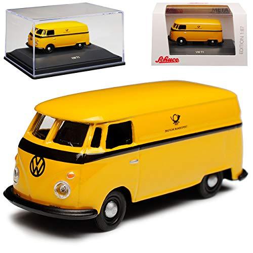 Volkwagen T1 Deutsche Bundespost Gelb Transporter Bus 1950-1967 H0 1/87 Schuco Modell Auto mit individiuellem Wunschkennzeichen