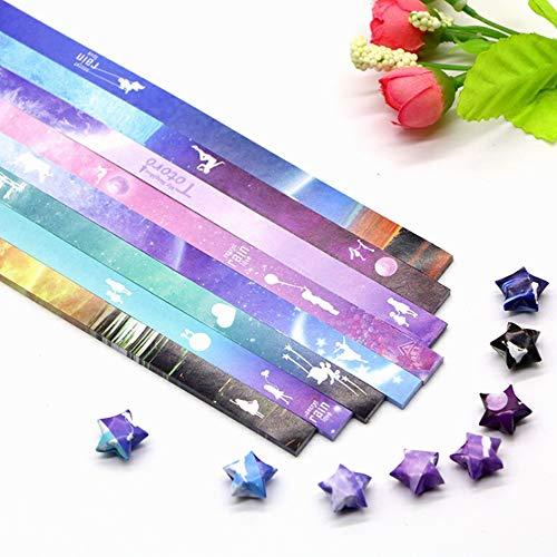 Nuluxi Estrella Tiras Papel para Papiroflexia Bricolaje Decoraciones Papel Origami Estrellas Tiras Plegables de Papel de Origami Origami Estrellas Papel Adecuado para Todo Tipo de Ocasiones-540 Hojas