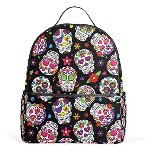 Wamika Sugar Skull Flowers Rose Daisy Kids Backpack School Bookbags Daypack Bags Water Resistant, Mexican Day of The Dead Skull Bag Mini Backpack Travel for 1th- 6th Grade Girls Boys Women Men