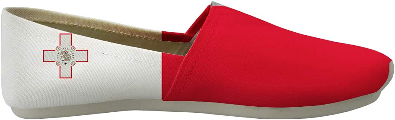 Owaheson Classic Canvas Slip-On Lightweight Driving shoes Soft Penny Loafers Men Women Republic of Malta Flag