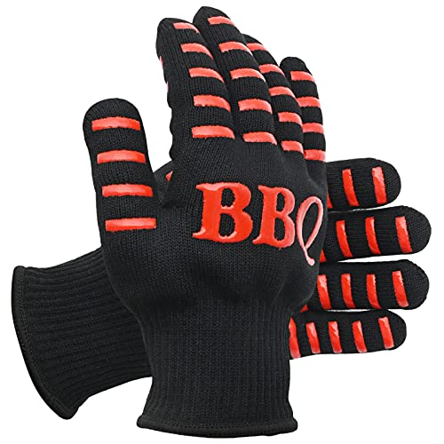 Guantes de barbacoa, extremadamente resistentes al calor, altos hasta 800 ℃/800 °C, 1 par de guantes de horno de microondas resistentes antideslizantes para barbacoa, cocina, parrilla (rojo)
