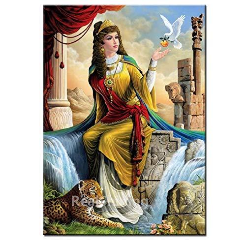 LMMLYR DIY 5D Diamante Pintura por Número Kit Paloma de la paz y la belleza egipcia Cuadro de Bordado de Diamantes Rhinestone Mosaico 5D Taladro completo bordado de diamantes de imitación 16x20