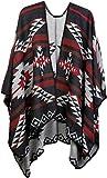 styleBREAKER Poncho con Motivo Azteco, Mantella, Poncho Reversibile, Donna 08010012, Colore:Nero-Grigio Chiaro-Rosso