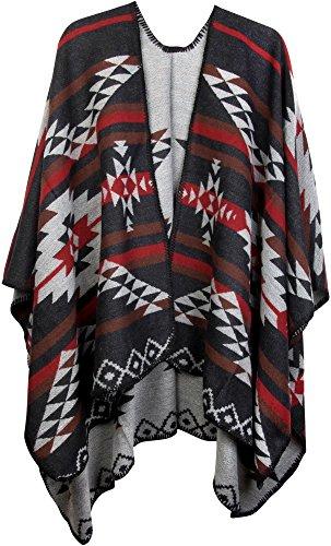 styleBREAKER Poncho mit Azteken Muster, Umhang, Überwurf Cape, Wendeponcho, Damen 08010012, Farbe:Schwarz-Hellgrau-Rot
