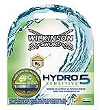 Wilkinson Sword Hydro 5 Sensitive - Cargador de 4 cuchillas de afeitar masculinas de cinco hojas con nuevo deposito de gel para pieles mas sensibles