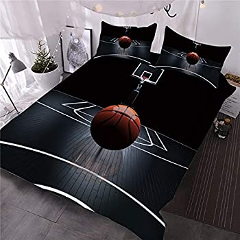 Wowelife Black Basketball Comforter Twin 5 Pieces with Comforter Flat Sheet Fitted Sheet and 2 Pillow Cases Black Basketball Twin