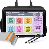 FACILOTAB Pack L Rubis - WiFi/4G - 64 Go - Android 10 - Support, Sacoche, 2 Stylets - Tablette simplifiée pour Seniors