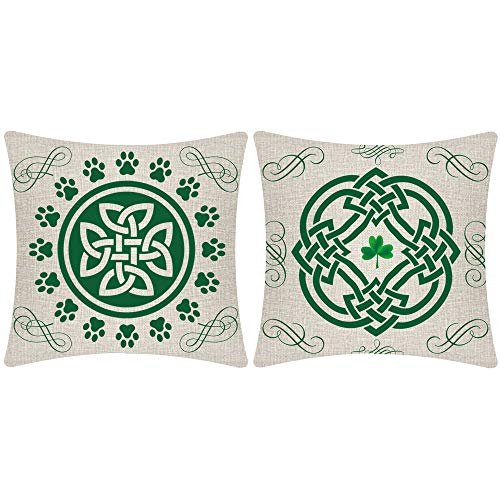Hysunland St Patricks Day Spring Pillow Covers 18X18 Inch Pack of 2 Shamrock Clovers Decorations Beige Burlap Decorative Square Pillow Cases Pillow Sham with Zipper for Home Couch Party Outdoor