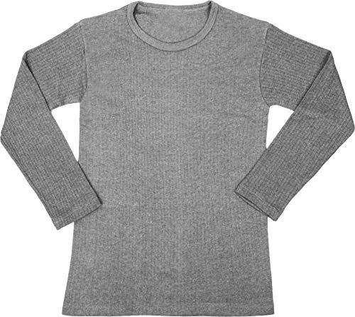 normani Kinder Thermounterhemd Winter Thermounterwäsche Langarmshirt mit Rundhalskragen für Jungen und Mädchen Farbe Grau Größe XL/164-176