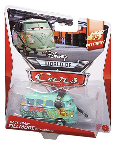 Disney World of Cars, 95 Pit Crew Die-Cast, Race Team Fillmore with Headset #1/5, 1:55 Scale by Mattel