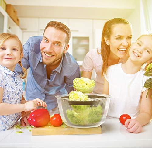 Lacari ® Salatschleuder mit großem [5L] Fassungsvermögen – Optimaler Salattrockner mit Ablaufsieb - Einfaches Bedienen durch Drehen der Kurbel - 5
