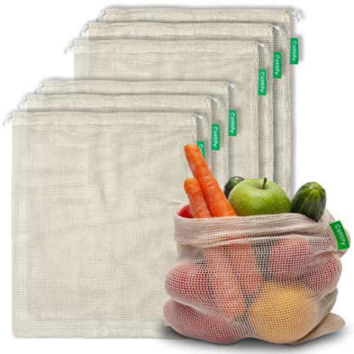 Cottify Wiederverwendbare Obst und Gemüsebeutel aus Bio Baumwolle, Nachhaltige Einkaufsnetze & Gemüsenetze mit Gewichtsangabe, Obstnetz, Doppelgenähtes, Leicht, 6 stück (6xM)
