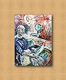 quadro in tela da arredamento moderno, contemporaneo da salotto, dipinti astratti e originali come gli impressionisti, fatti a mano con olio su tela da puliafico, da regalo - banco del pesce 80x60cm
