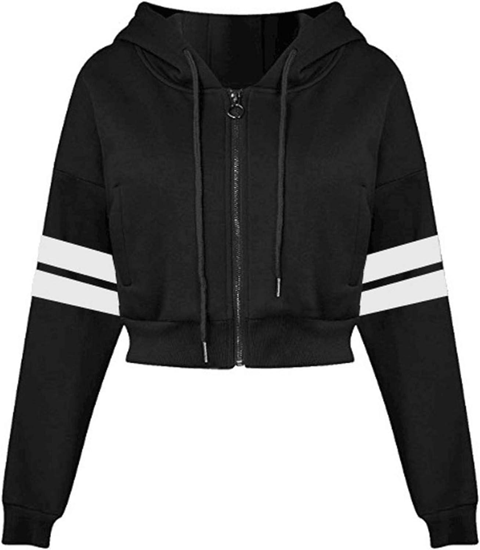 Crop Sweatshirt Hoodie Long Sleeve Zip UP Hooded Jacket Top