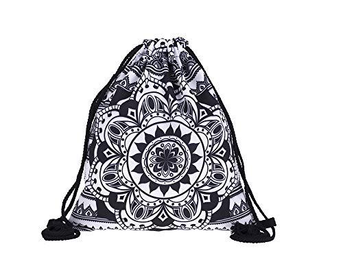 Hanessa Jutebeutel - schwarz-weiß Mandala abstrakt - mit lustigem Spruch Aufdruck Sportbeutel lustige Sprüche Tüte Rucksack Beutel Tasche Gym Bag Hipster Fashion Sport-Tasche Einkaufs-Tasche RU-366